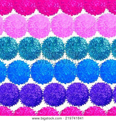 Vector seamless pattern with small furry flowers or pompoms in blue bright color can be used for web print wallpaper spring summer fashion fabric textile card background.