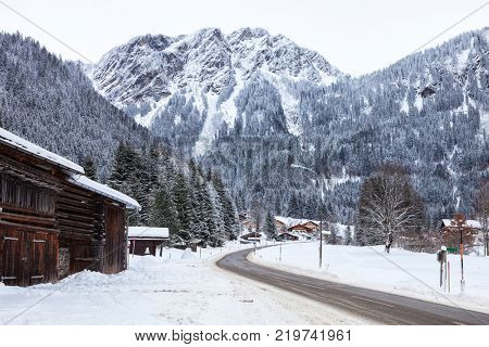 Mountain road through Partenen - a town in the Montafon, in Vorarlberg, Austria.