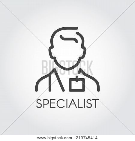 Specialist of medical sciences, doctor, consultant outline icon. Abstract portrait of male doc. Profession of helping people pictogram. Simplicity illustration in line style. Vector contour label
