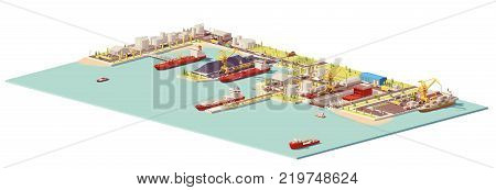 Vector low poly commercial port. Includes oil, coal, LNG, container terminals, dry dock, ships and industrial infrastructure elements