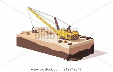 Vector low poly dragline excavator digging the dirt