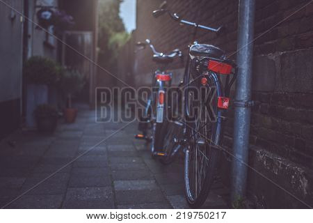 Sity bicycle on the street. Image for background