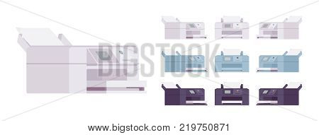 Office laser printer set. Personal computer machine to make copies, digital device to reproduce images or text. Vector flat style cartoon illustration isolated on white background, different positions