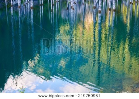 The sunken forest of  Lake Kaindy. Lake Kaindy, meaning the