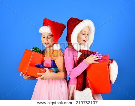 Happiness And Holidays Concept. Girls Celebrate New Year