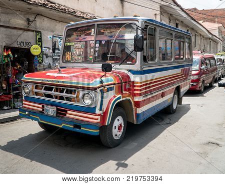 La Paz Bolivia September 2017: Public transport bus in a street in La Paz Bolivia. La Paz is modern city with outdated road infrastructure but has extensive public transport network.