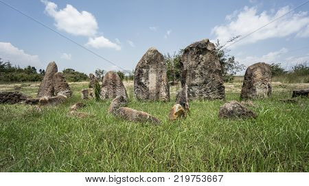 Tiya Ethiopia - September 2017: Megalithic Tiya stone pillars a UNESCO World Heritage Site near Addis Ababa