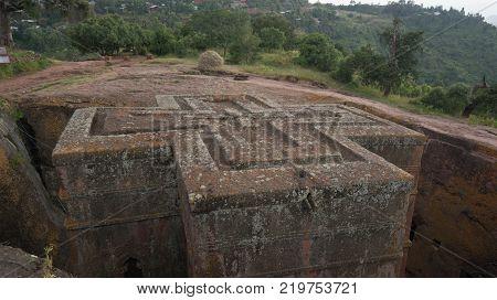Lalibela Ethiopia - September 2017: Unique monolithic rock-hewn Church of St. George UNESCO World heritage
