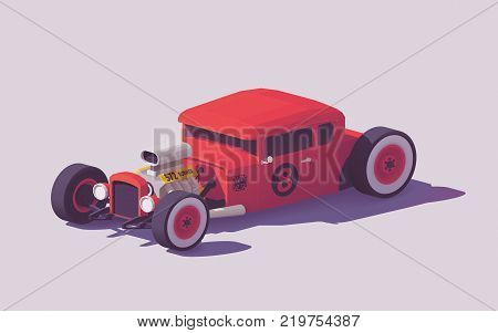 Vector low poly classic American hot rod car