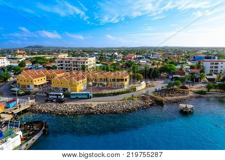 The Colorful waterfront and harbor of Bonaire