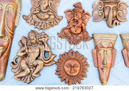 Clay made miniatures terracotta handicrafts tribal art of Bankura and Bishnupur on display during the Handicraft Fair in Kolkata West Bengal India. It is the biggest handicrafts fair in Asia.