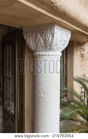 Near Mitzpe Yeriho Israel November 25 2017 : Decorative column at the entrance to the cell in the monastery of St. George Hosevit (Mar Jaris) in Wadi Kelt near Mitzpe Yeriho in Israel
