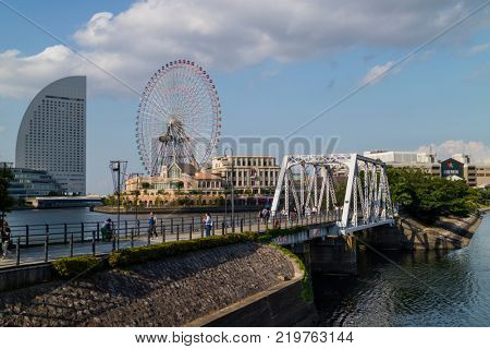 Yokohama - Japan, June 15, 2017 ;  View to Cosmo Clock 21,  a giant Ferris wheel at the Cosmo World amusement park in the Minato Mirai