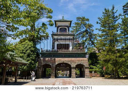 Kanazawa - Japan, June 11, 2017: Shrine gate of the Oyama jinja Shrine, a mixture of Chinese, Japanese and European styles