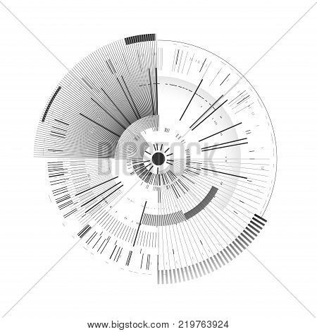 Futuristic interface element. Technology circle. Digital futuristic user interface. HUD. Sci fi futuristic template isolated on white background. Abstract vector illustration