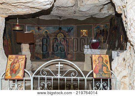 Near Mitzpe Yeriho Israel November 25 2017 : Interior of the monastery of St. George Hosevit (Mar Jaris) in Wadi Kelt near Mitzpe Yeriho in Israel