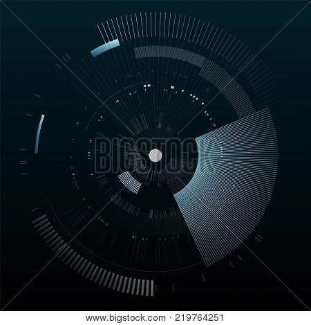 Futuristic interface element. Technology circle. Digital futuristic user interface. HUD. Sci fi futuristic template isolated on black background. Abstract vector illustration.