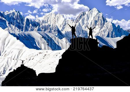 successful team in the majestic challenging and summit mountains