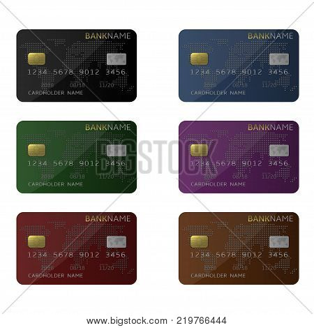 Debit Credit Bank plastic card set. Vector illustration