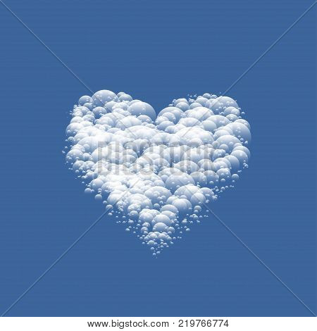 White cloudy Valentine Heart over blue sky background. Vector illustration
