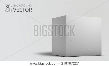 White box cube isolated on white background. Blank empty package 3d design. Gray shadow. Cube or square product design object