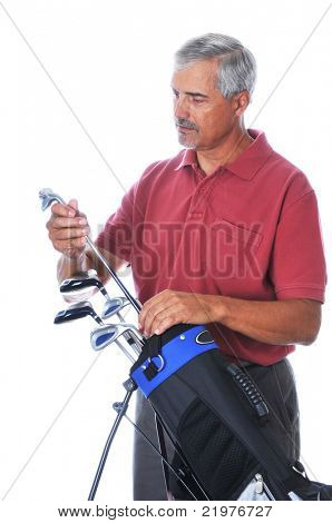 Middle Aged Man Selecting Golf Club from Bag