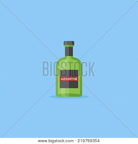 Bottle of absinthe isolated on blue background. Flat style icon. Vector illustration. poster