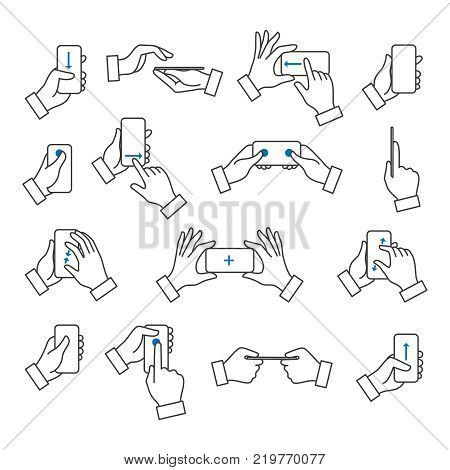 Phone in hand. Mobile phones with touchscreen holding in hands with gestures vector icons collection