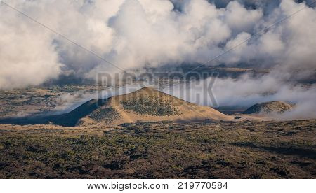 Hawaiian Mountain, High-Altitude Landscape Above The Clouds