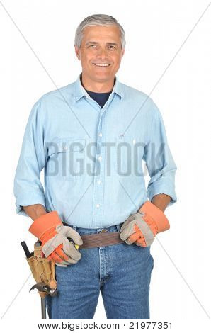 Middle Aged Construction Worker wearing toolbelt isolated on white