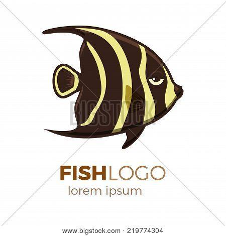 Marine life tropical colorful fish set illustration in cartoon. Aquarium draft vector design.  French angelfish logo