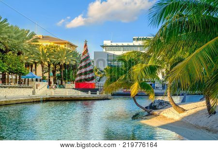 Grand Cayman, Cayman Islands, Dec 2017, tropical Christmas at a waterfront town by the Caribbean Sea