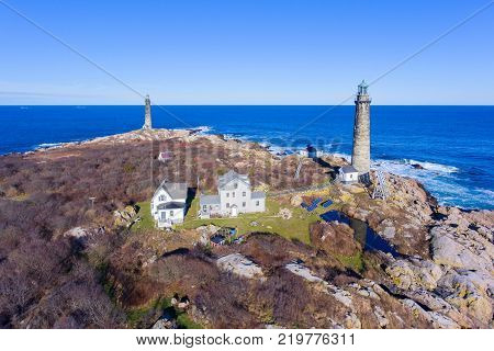 Aerial view of Thacher Island Lighthouse on Thacher Island, Cape Ann, Massachusetts, USA. Thacher Island Lighthouses was built in 1771.