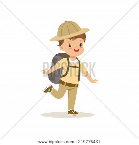 Cute little boy in scout costume with backpack, outdoor camp activity vector Illustration on a white background