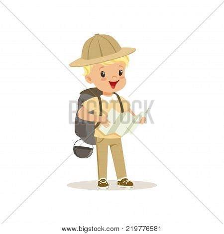 Cute little boy in scout costume with backpack holding a tourist map, outdoor camp activity vector Illustration on a white background