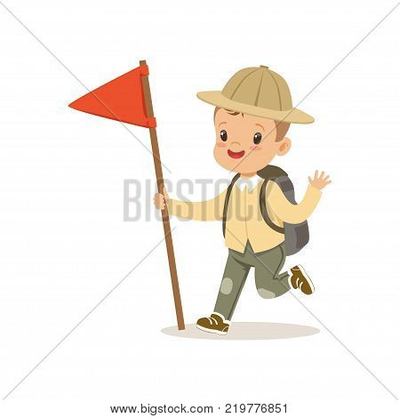 Cute little boy in scout costume with backpack and red flag, outdoor camp activity vector Illustration on a white background