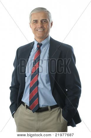Middle Aged Businessman in Blue Blazer Hands In His Pockets isolated on white vertical format