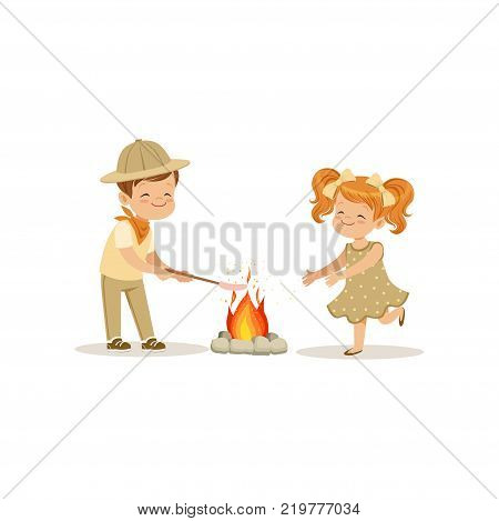 Kids in scout costumes near the bonfire, boy frying his marshmallows, outdoor camp activity vector Illustration on a white background