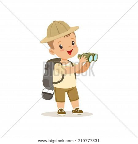 Cute little boy in scout costume with backpack and binoculars, outdoor camp activity vector Illustration on a white background