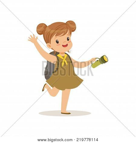 Lovely little girl in scout dress with flashlight, outdoor camp activity vector Illustration on a white background