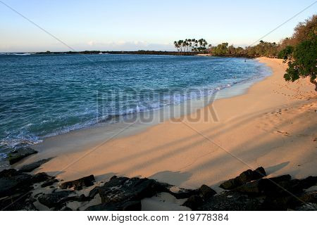 Beautiful Mahaiula Beach on the Hawaiian Island of Big Island before sunset