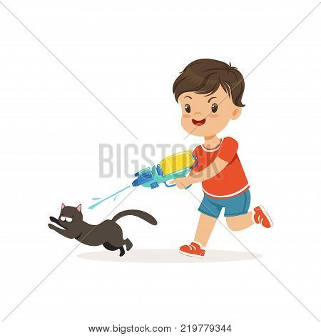 Cute bully boy pouring a black cat out of a water gun, hoodlum cheerful little kid, bad child behavior vector Illustration on a white background