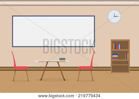 Interior office design relax With table chair bookcase and board. vector illustration