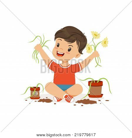 Cute little bully boy sitting on the floor and tearing flowers from pots, hoodlum cheerful little kid, bad child behavior vector Illustration on a white background