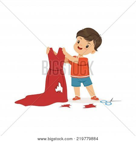 Cute little bully boy cutting red mothers dress, hoodlum cheerful little kid, bad child behavior vector Illustration on a white background