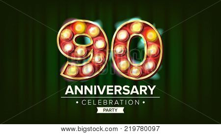 90 Years Anniversary Banner Vector. Ninety Celebration. 3D Glowing Element Digits. For Happy Birthday Luxurious Advertising Design. Green Background Illustration