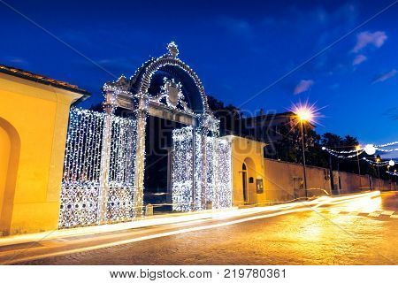 1840s Gate of the former Ironworks Complex in Follonica at Christmas time