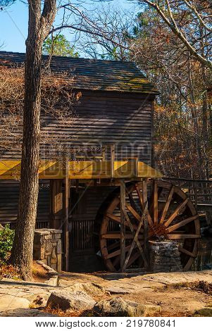 Grist Mill in the Stone Mountain Park in sunny autumn day Georgia USA