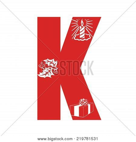 Red Christmas alphabet K with Christmas decorations