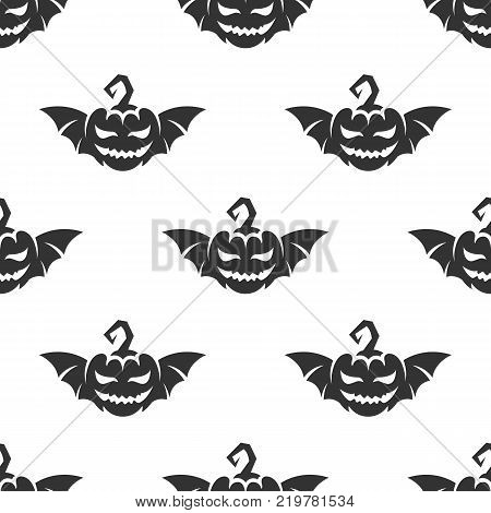 Pumpkin for Helloween with bat wings seamless pattern. Vector illustration for backgrounds
